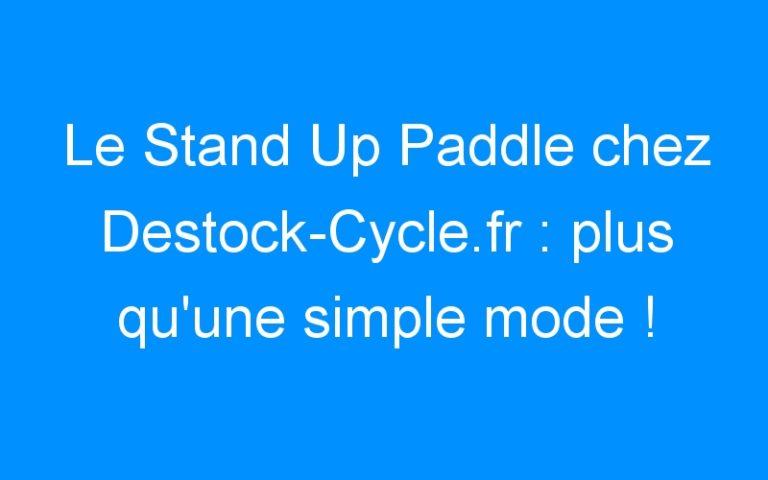 Le Stand Up Paddle chez Destock-Cycle.fr : plus qu'une simple mode !