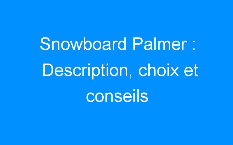 Snowboard Palmer : Description, choix et conseils