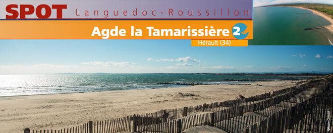 Zone de kitesurf de Agde La Tamarissiere (34) : Accès, stat de vents et description