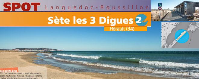 Zone de kitesurf de Sète 3 digues : Accès, stat de vents et description
